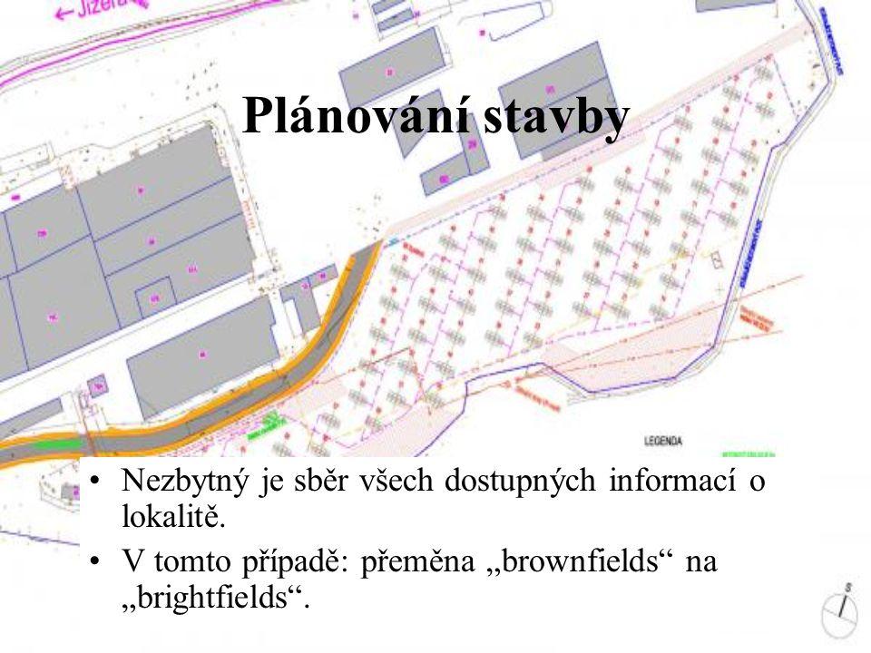 """Plánování stavby Nezbytný je sběr všech dostupných informací o lokalitě. V tomto případě: přeměna """"brownfields"""" na """"brightfields""""."""