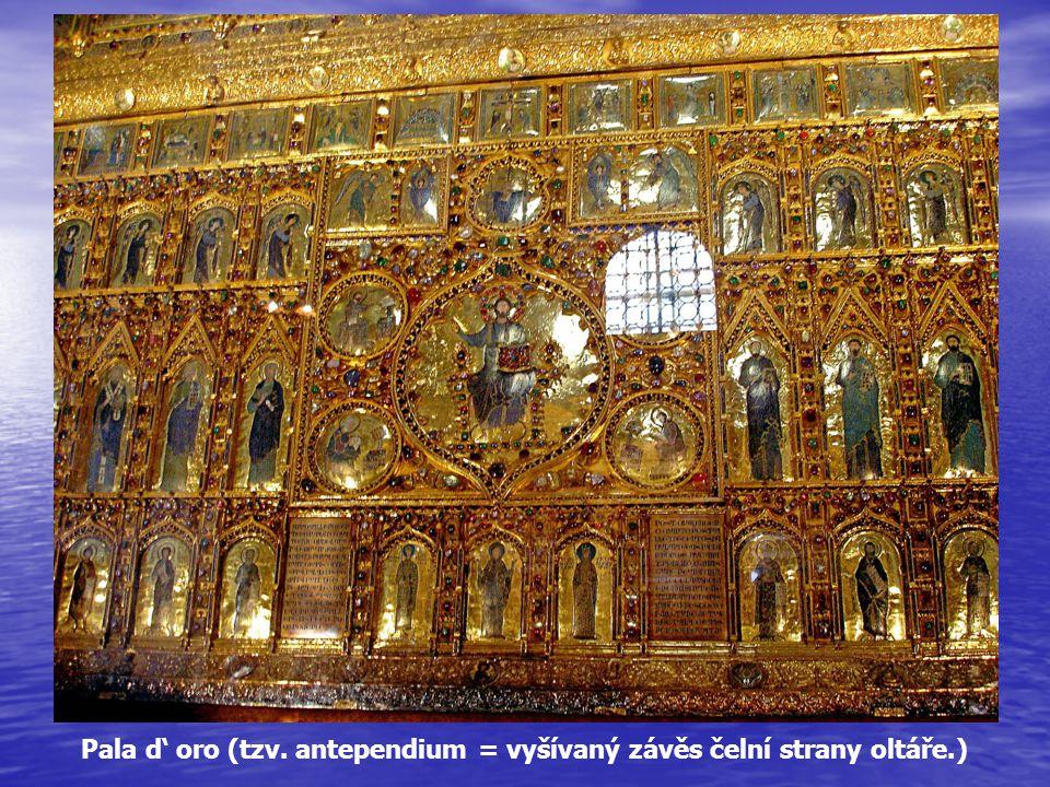 Pala d' oro (tzv. antependium = vyšívaný závěs čelní strany oltáře.)