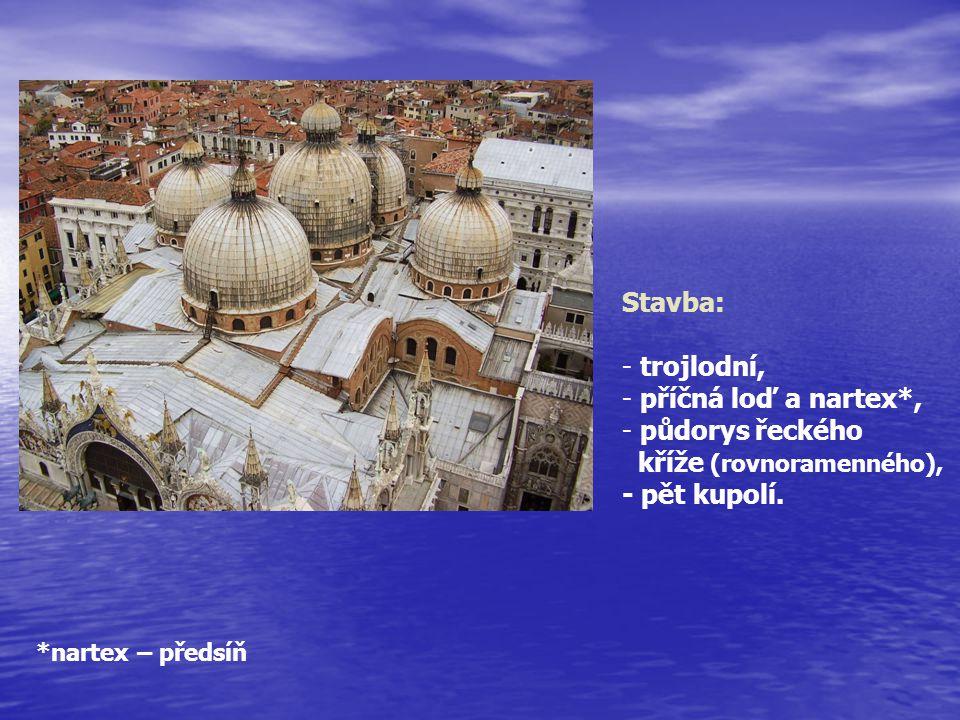 Stavba: - trojlodní, - příčná loď a nartex*, - půdorys řeckého kříže (rovnoramenného), - pět kupolí. *nartex – předsíň