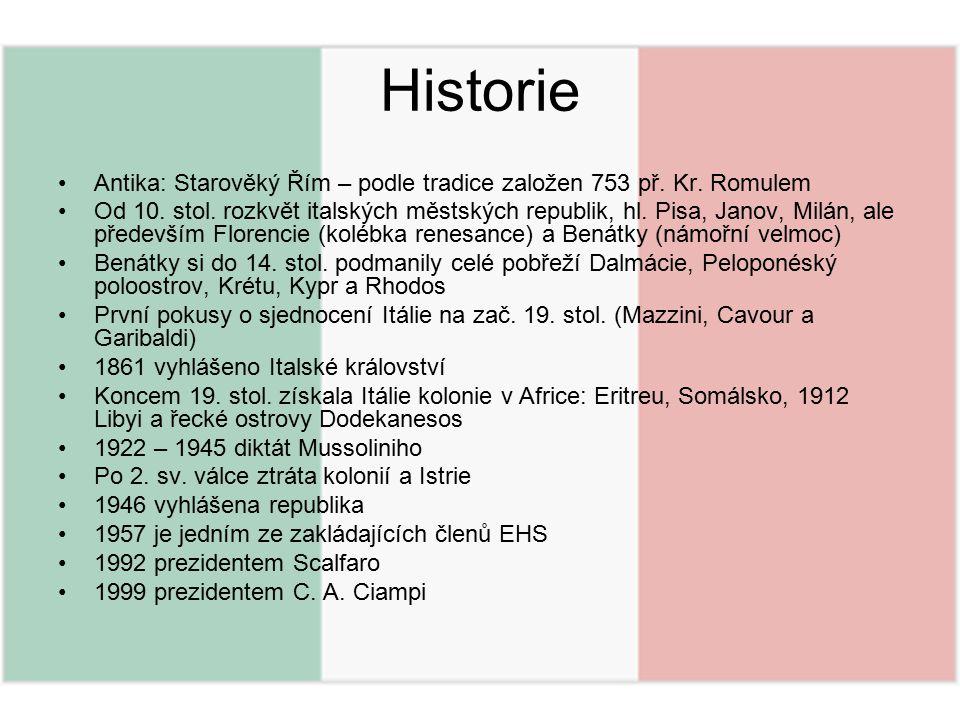 Historie Antika: Starověký Řím – podle tradice založen 753 př. Kr. Romulem Od 10. stol. rozkvět italských městských republik, hl. Pisa, Janov, Milán,