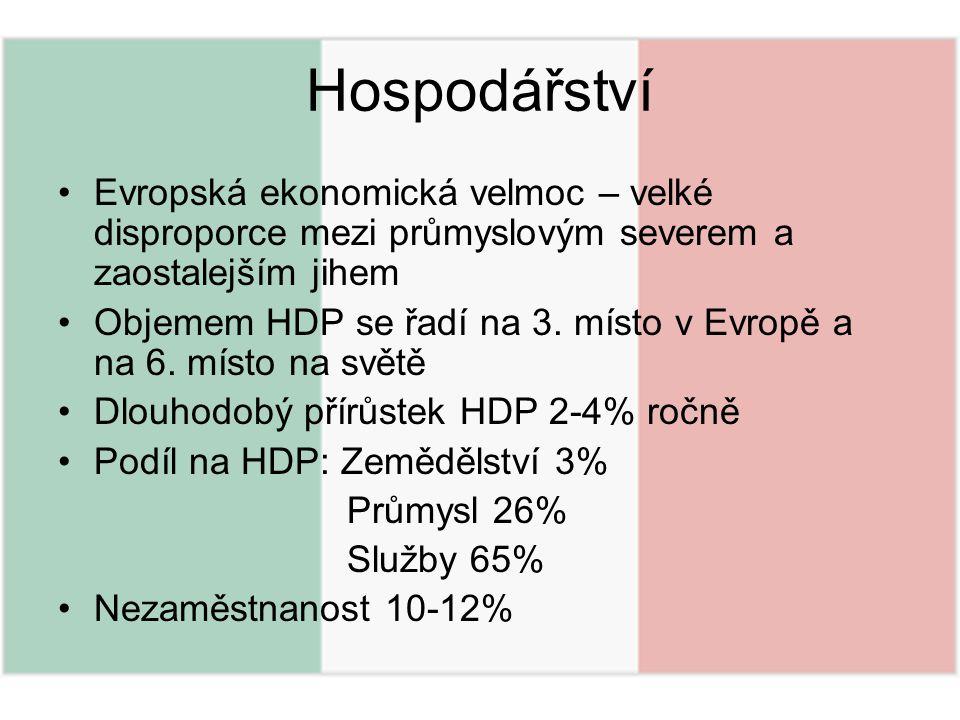 Hospodářství Evropská ekonomická velmoc – velké disproporce mezi průmyslovým severem a zaostalejším jihem Objemem HDP se řadí na 3. místo v Evropě a n