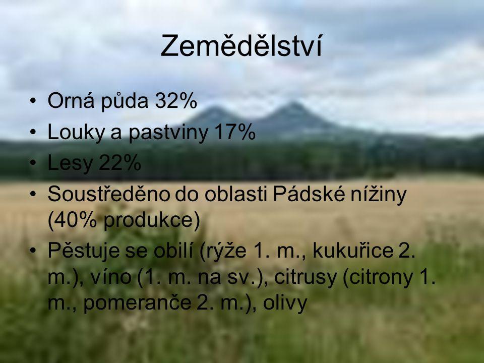 Zemědělství Orná půda 32% Louky a pastviny 17% Lesy 22% Soustředěno do oblasti Pádské nížiny (40% produkce) Pěstuje se obilí (rýže 1. m., kukuřice 2.