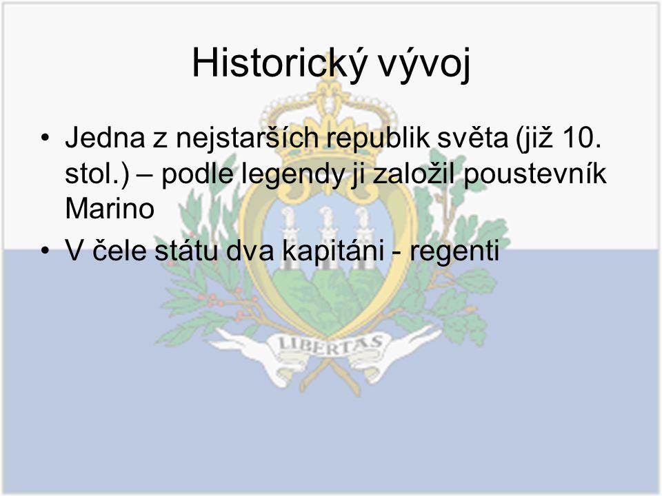 Historický vývoj Jedna z nejstarších republik světa (již 10. stol.) – podle legendy ji založil poustevník Marino V čele státu dva kapitáni - regenti