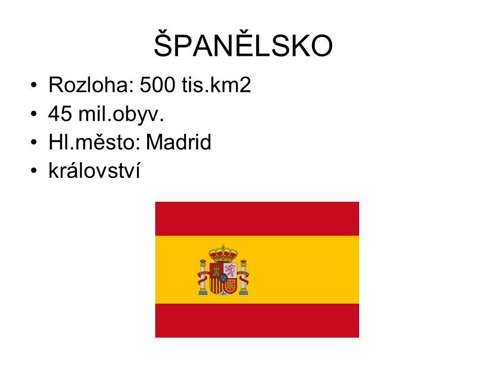 ŠPANĚLSKO Rozloha: 500 tis.km2 45 mil.obyv. Hl.město: Madrid království