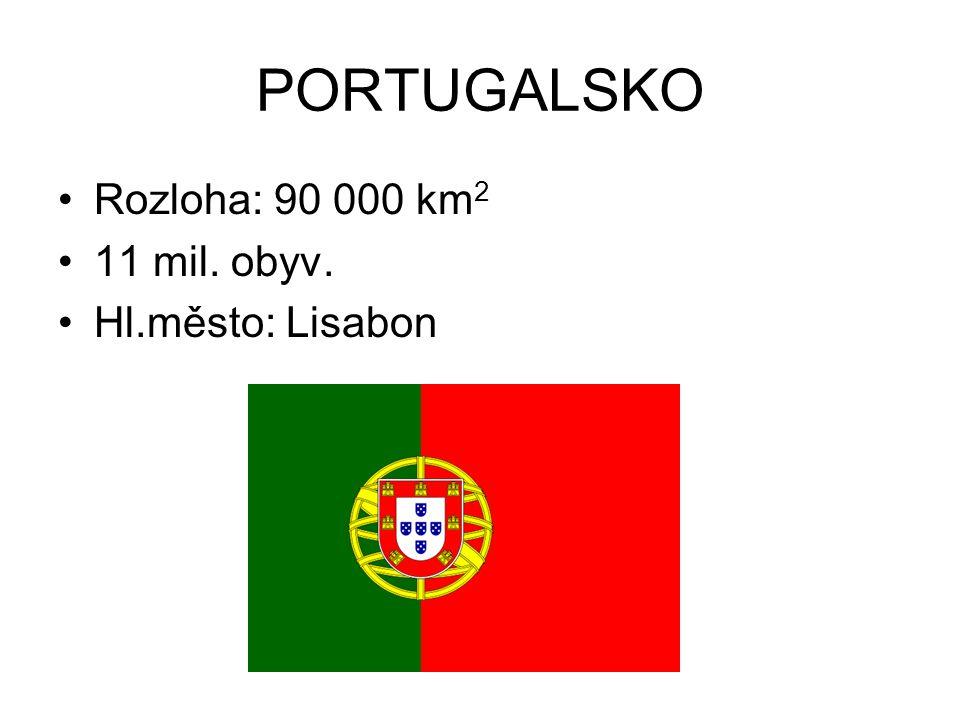 PORTUGALSKO Rozloha: 90 000 km 2 11 mil. obyv. Hl.město: Lisabon
