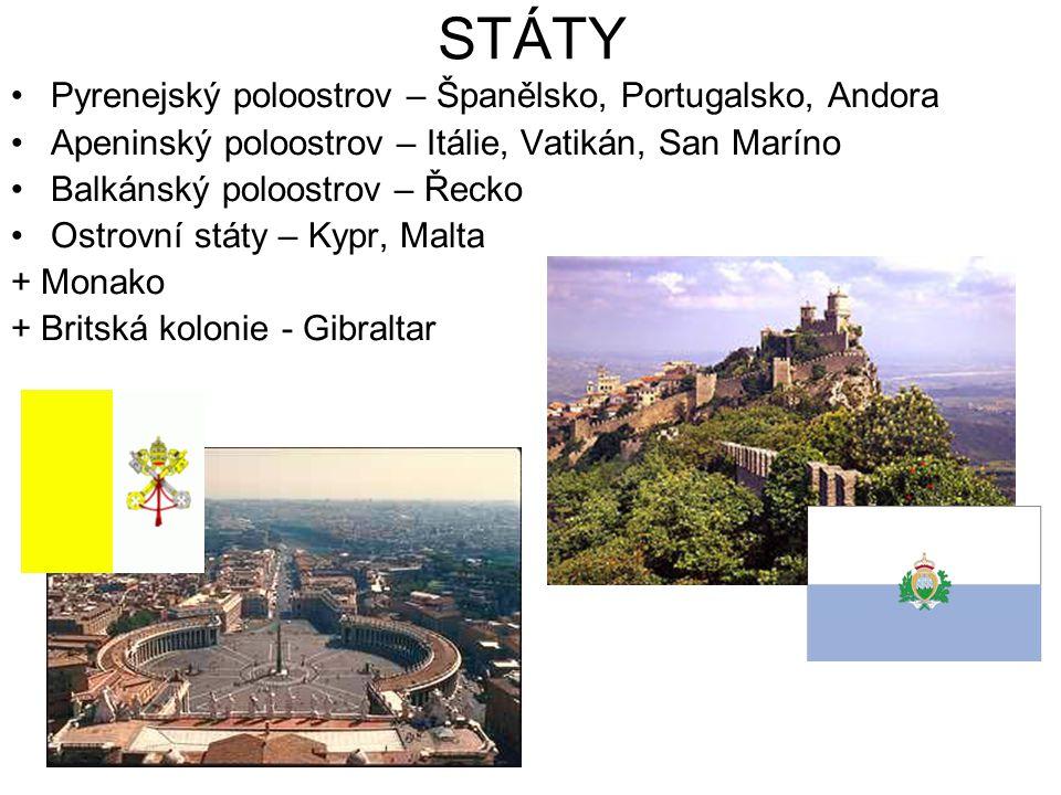 STÁTY Pyrenejský poloostrov – Španělsko, Portugalsko, Andora Apeninský poloostrov – Itálie, Vatikán, San Maríno Balkánský poloostrov – Řecko Ostrovní