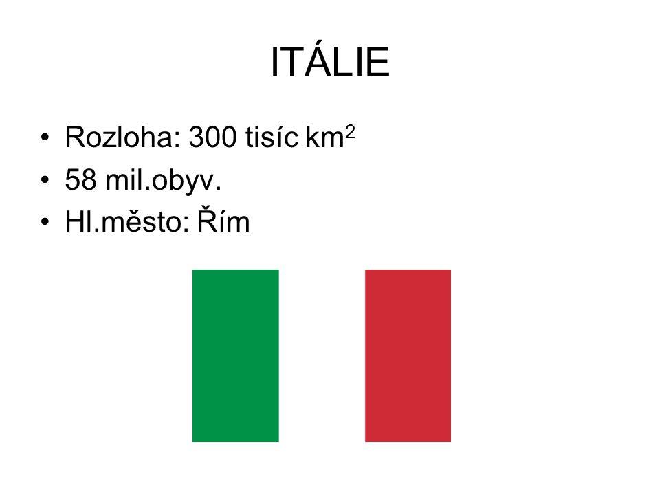 ITÁLIE Rozloha: 300 tisíc km 2 58 mil.obyv. Hl.město: Řím