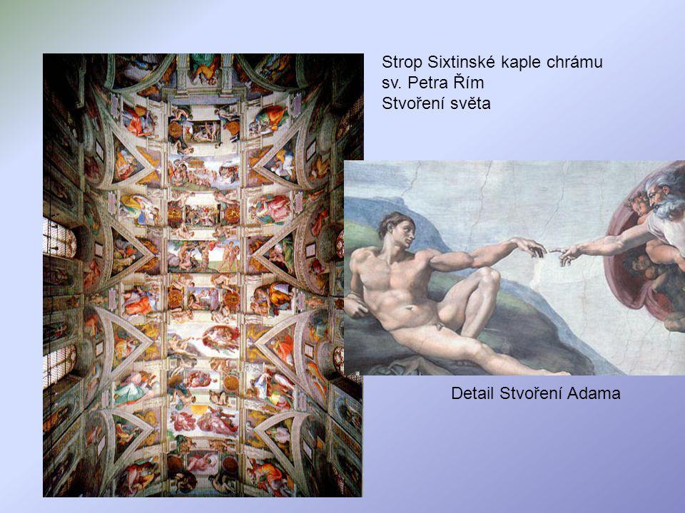 Strop Sixtinské kaple chrámu sv. Petra Řím Stvoření světa Detail Stvoření Adama