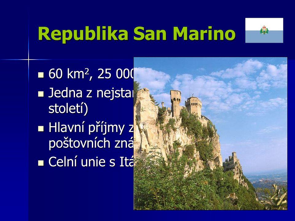 Republika San Marino 60 km 2, 25 000 obyvatel 60 km 2, 25 000 obyvatel Jedna z nejstarších republik světa (10.