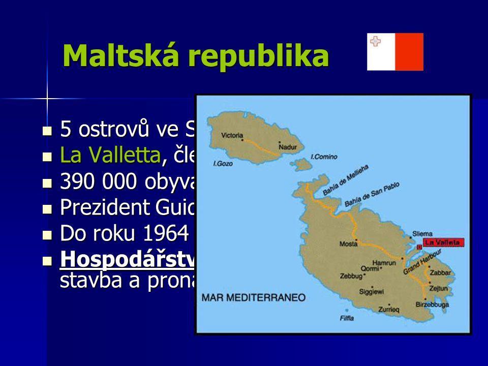 Maltská republika 5 ostrovů ve Středozemním moři 5 ostrovů ve Středozemním moři La Valletta, člen EU La Valletta, člen EU 390 000 obyvatel, 316 km 2 390 000 obyvatel, 316 km 2 Prezident Guido de Marco Prezident Guido de Marco Do roku 1964 Britská kolonie Do roku 1964 Britská kolonie Hospodářství – cestovní ruch, stavba a pronájem lodí Hospodářství – cestovní ruch, stavba a pronájem lodí