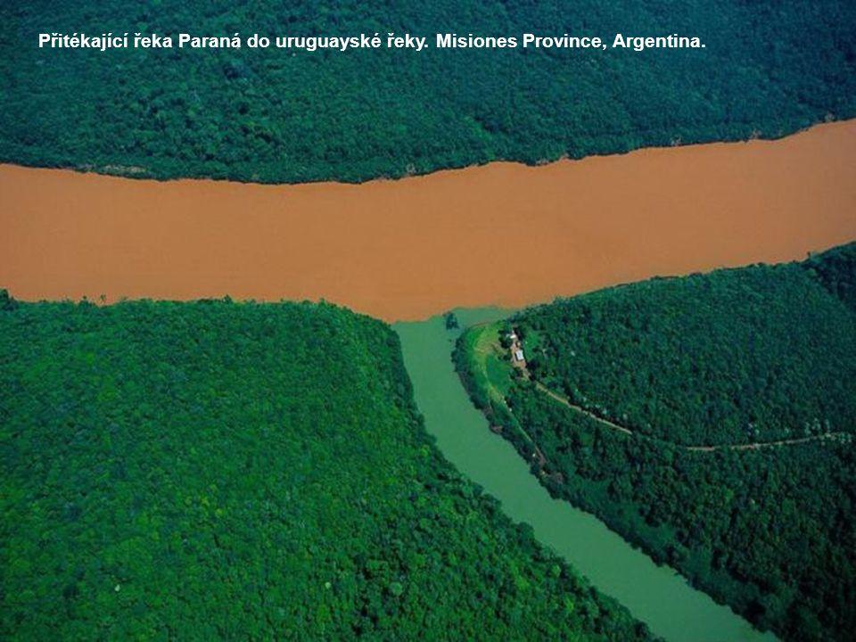 Přitékající řeka Paraná do uruguayské řeky. Misiones Province, Argentina.