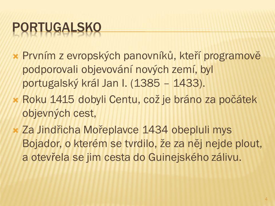  Prvním z evropských panovníků, kteří programově podporovali objevování nových zemí, byl portugalský král Jan I.
