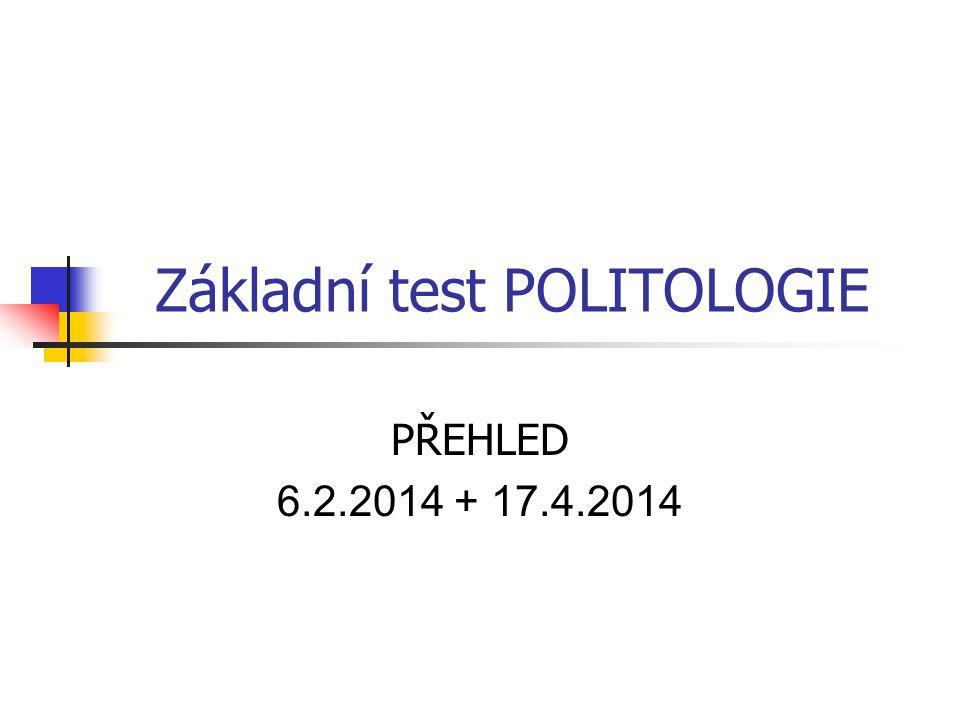 Základní test POLITOLOGIE PŘEHLED 6.2.2014 + 17.4.2014