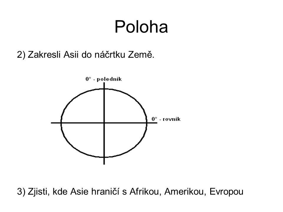 Poloha 2) Zakresli Asii do náčrtku Země. 3) Zjisti, kde Asie hraničí s Afrikou, Amerikou, Evropou