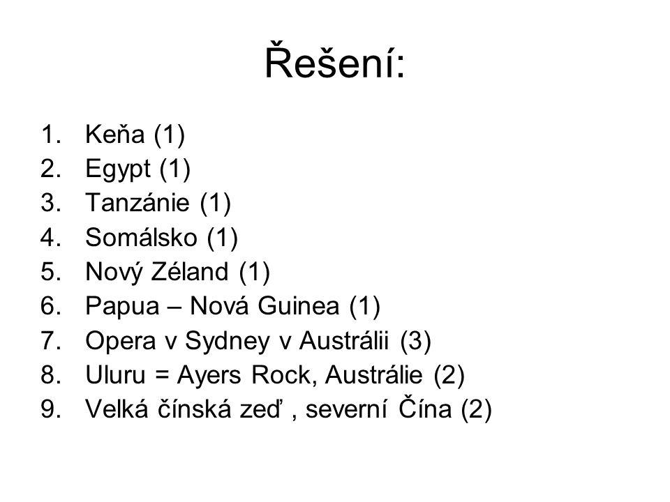 Řešení: 1.Keňa (1) 2.Egypt (1) 3.Tanzánie (1) 4.Somálsko (1) 5.Nový Zéland (1) 6.Papua – Nová Guinea (1) 7.Opera v Sydney v Austrálii (3) 8.Uluru = Ay