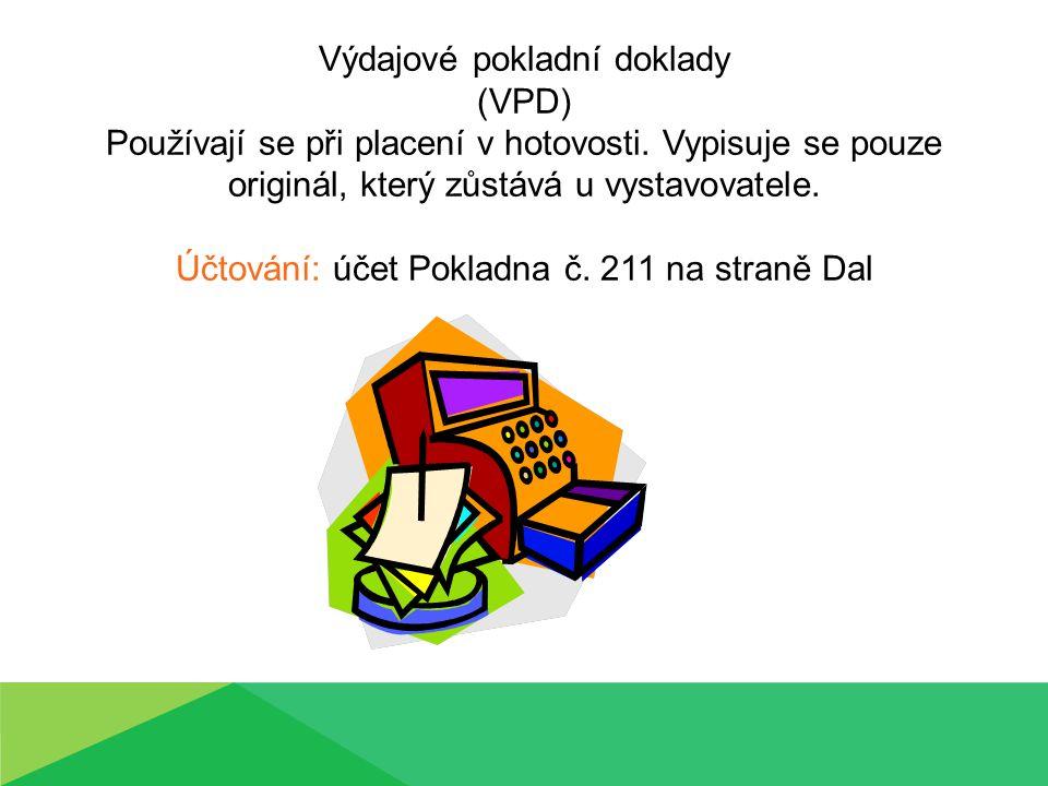 2) Výdajové pokladní deníky Firma (organizace): SOŠ a SOU Horky nad Jizerou Na zámku č.35 294 73 Brodce Výdajový pokladní doklad Pořadové číslo: 2 číslo:VPD č.1Datum:12.2.2013 Vyplaceno komu: (jméno a adresa) Mileny Jiříčkové, ul.
