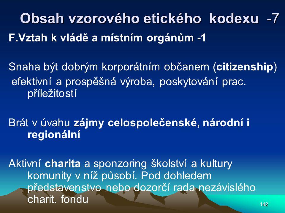 142 Obsah vzorového etického kodexu -7 F.Vztah k vládě a místním orgánům -1 Snaha být dobrým korporátním občanem (citizenship) efektivní a prospěšná výroba, poskytování prac.