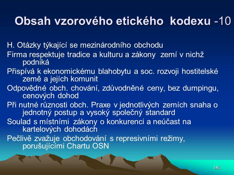 145 Obsah vzorového etického kodexu -10 H.