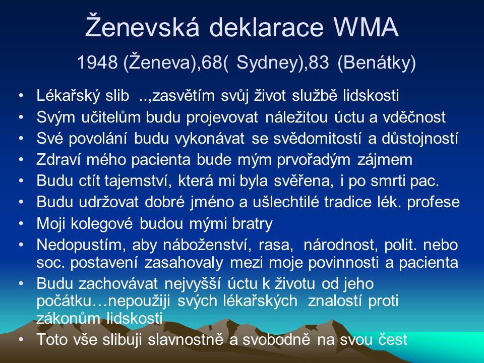 Ženevská deklarace WMA 1948 (Ženeva),68( Sydney),83 (Benátky) Lékařský slib..,zasvětím svůj život službě lidskosti Svým učitelům budu projevovat náležitou úctu a vděčnost Své povolání budu vykonávat se svědomitostí a důstojností Zdraví mého pacienta bude mým prvořadým zájmem Budu ctít tajemství, která mi byla svěřena, i po smrti pac.