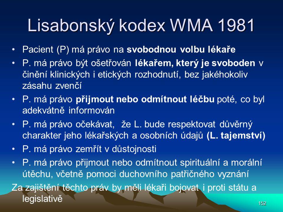 Lisabonský kodex WMA 1981 Pacient (P) má právo na svobodnou volbu lékaře P.