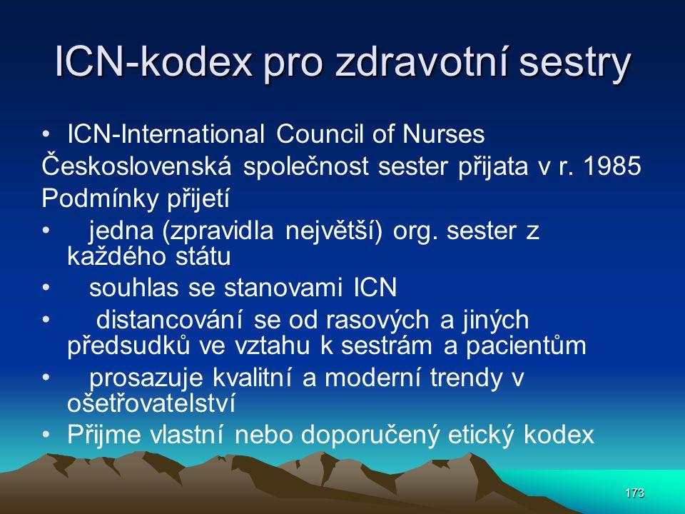 173 ICN-kodex pro zdravotní sestry ICN-International Council of Nurses Československá společnost sester přijata v r.
