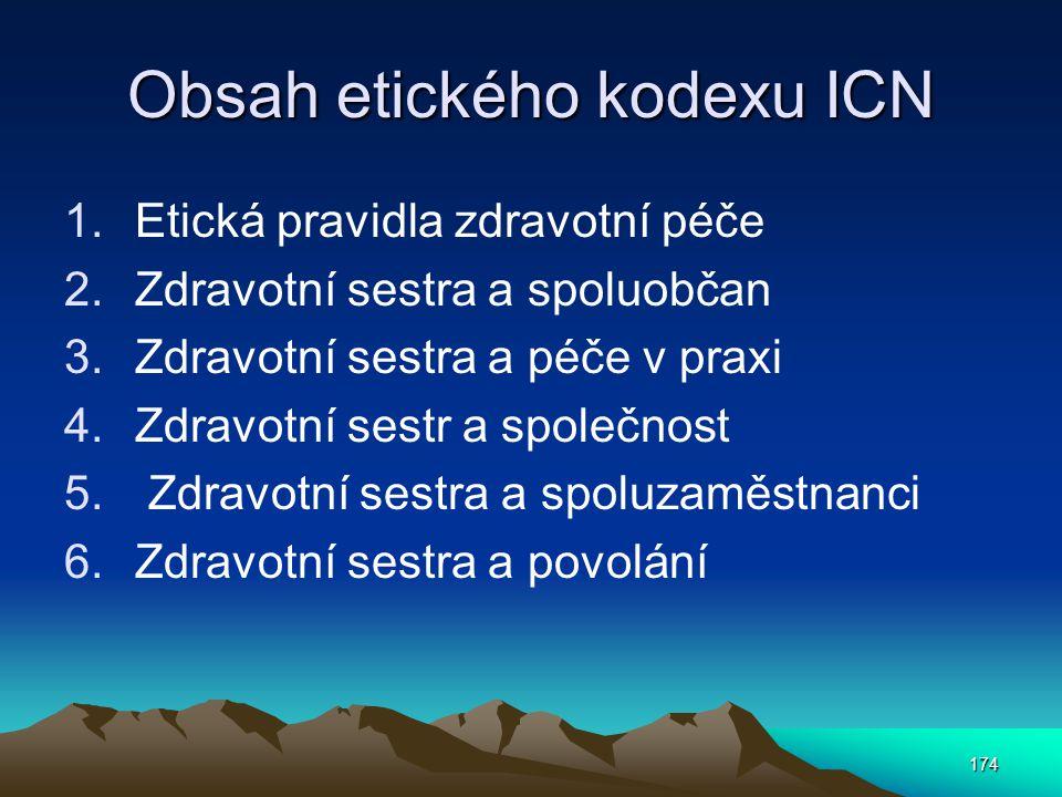 174 Obsah etického kodexu ICN 1.Etická pravidla zdravotní péče 2.Zdravotní sestra a spoluobčan 3.Zdravotní sestra a péče v praxi 4.Zdravotní sestr a společnost 5.