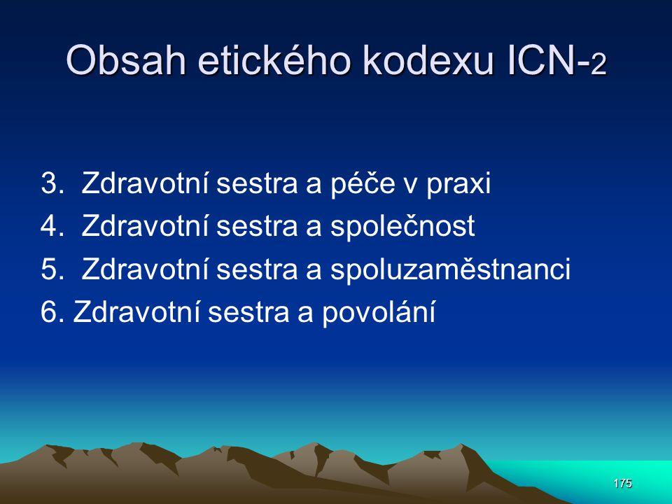 175 Obsah etického kodexu ICN- 2 3.Zdravotní sestra a péče v praxi 4.