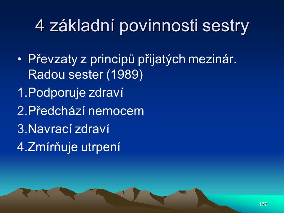 177 4 základní povinnosti sestry Převzaty z principů přijatých mezinár.