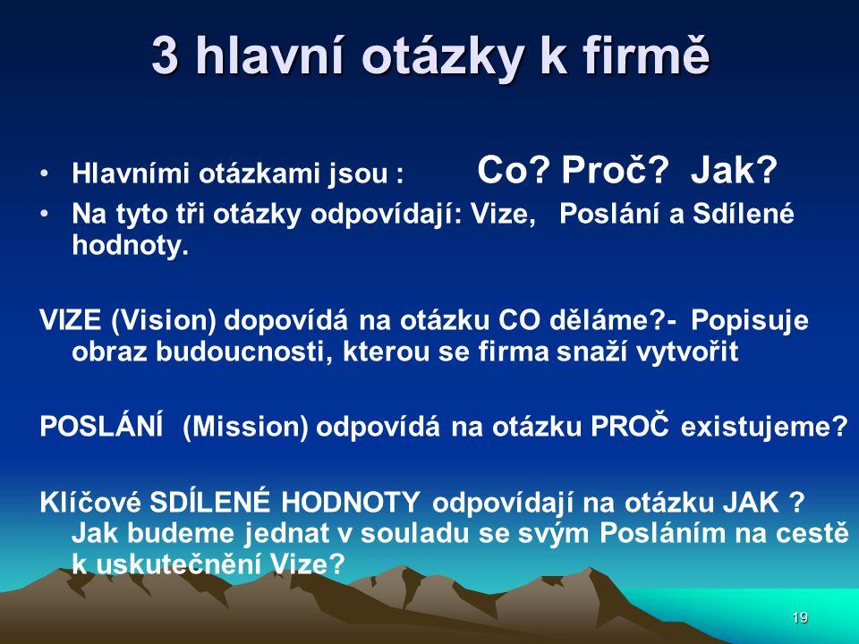 19 3 hlavní otázky k firmě Hlavními otázkami jsou : Co.