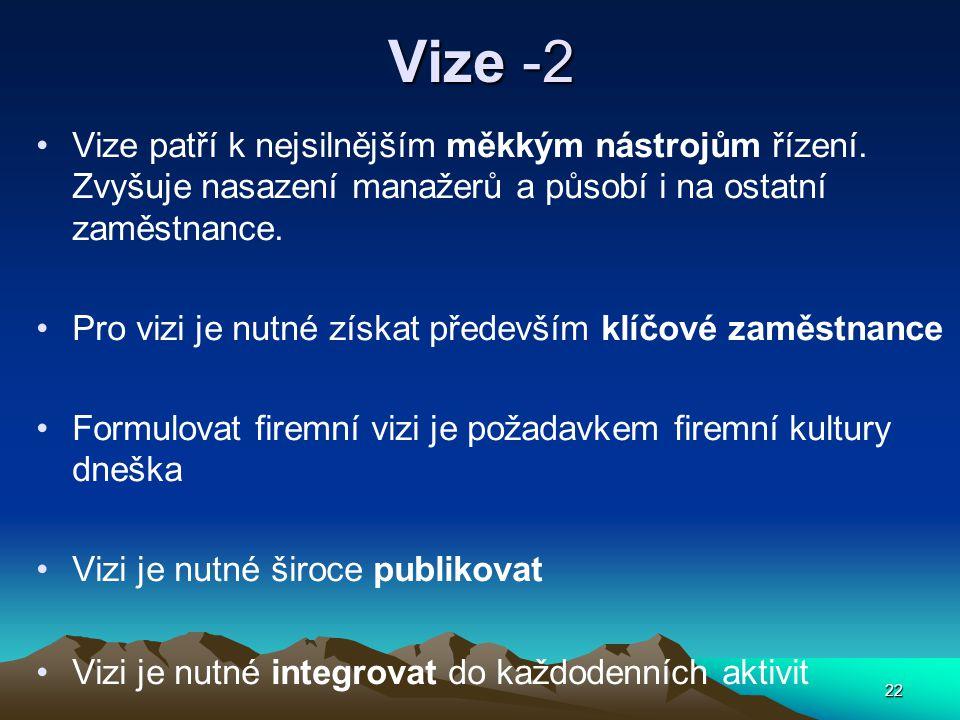 22 Vize -2 Vize patří k nejsilnějším měkkým nástrojům řízení.