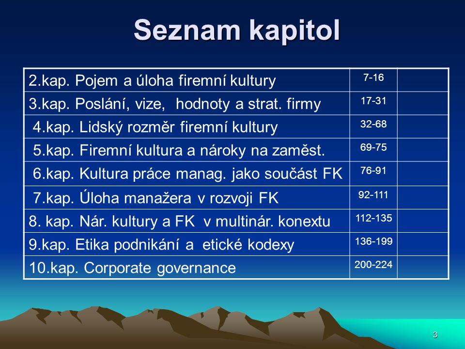 3 Seznam kapitol Seznam kapitol 2.kap.Pojem a úloha firemní kultury 7-16 3.kap.