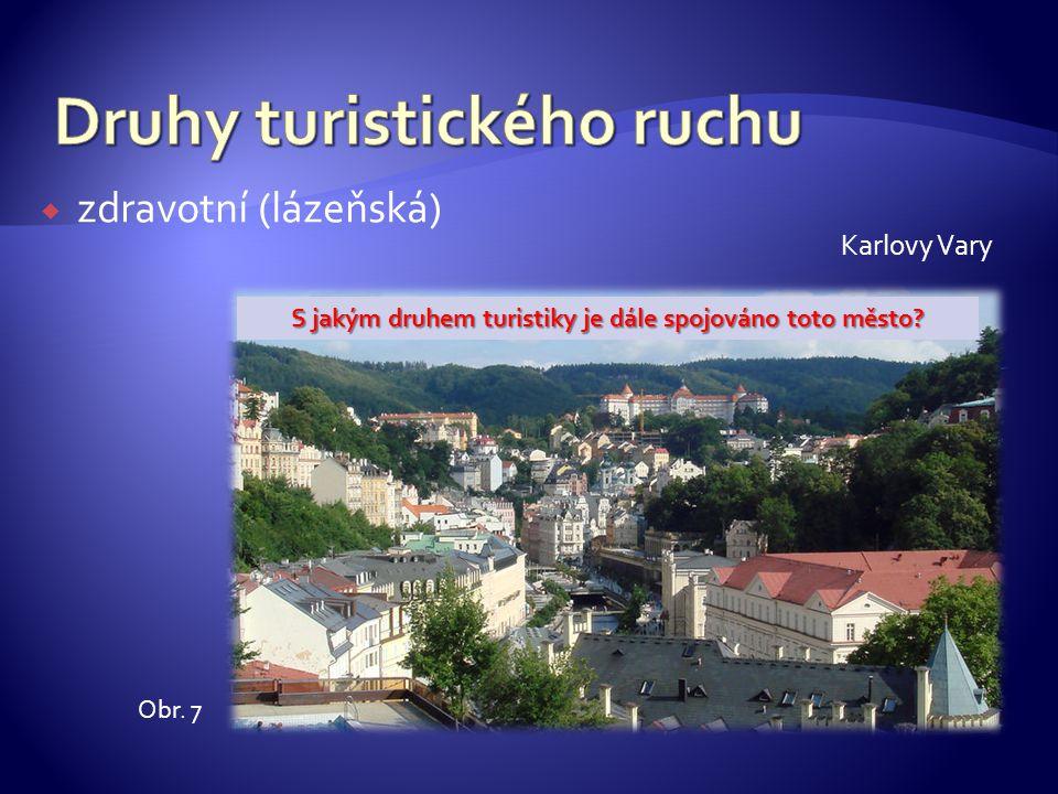  zdravotní (lázeňská) Karlovy Vary Obr. 7 S jakým druhem turistiky je dále spojováno toto město?