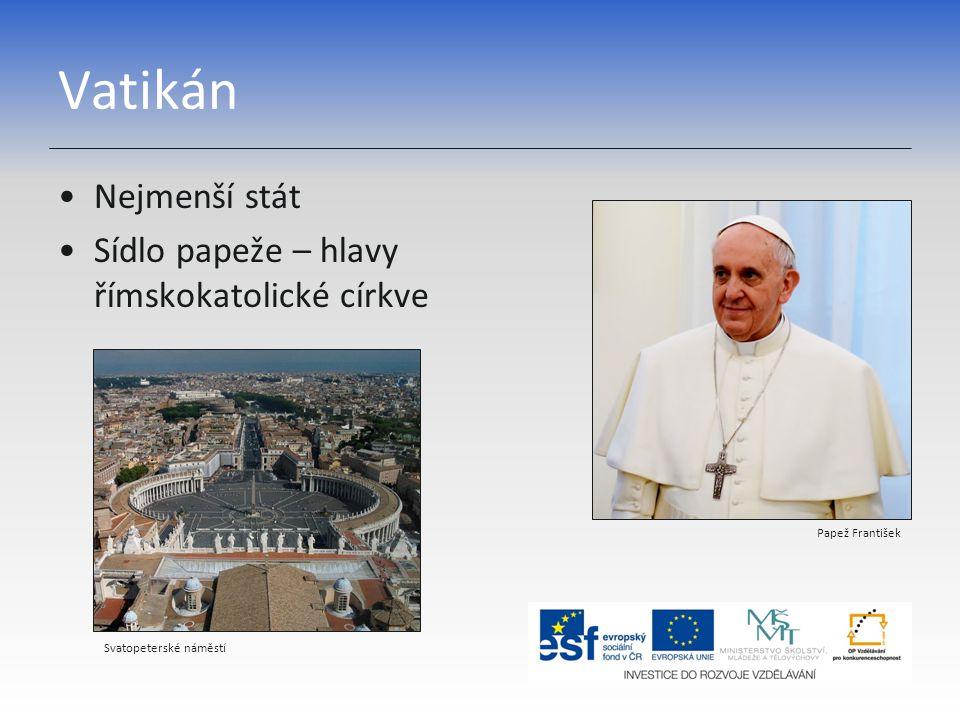Vatikán Nejmenší stát Sídlo papeže – hlavy římskokatolické církve Papež František Svatopeterské náměstí