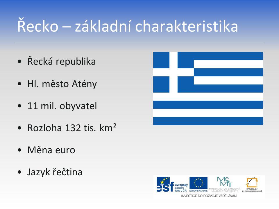 Řecko – základní charakteristika Řecká republika Hl. město Atény 11 mil. obyvatel Rozloha 132 tis. km² Měna euro Jazyk řečtina