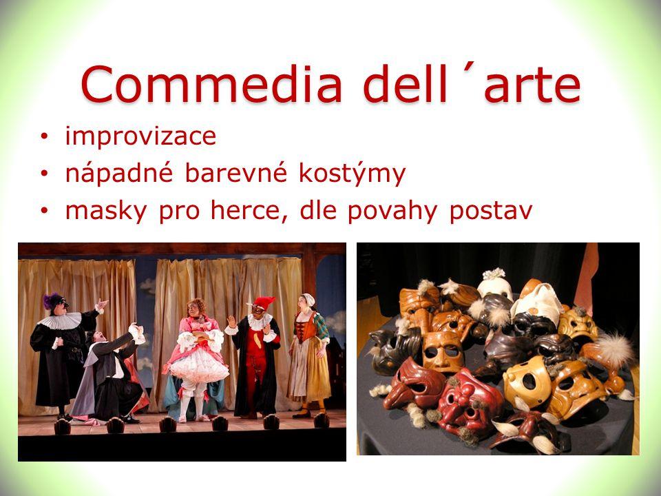 Commedia dell´arte improvizace nápadné barevné kostýmy masky pro herce, dle povahy postav