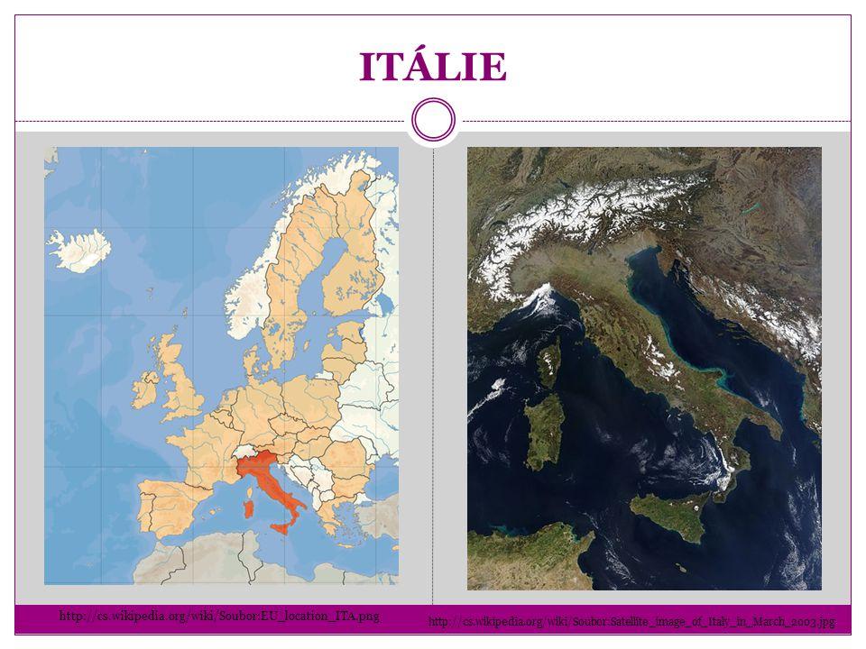 ITÁLIE http://cs.wikipedia.org/wiki/Soubor:Satellite_image_of_Italy_in_March_2003.jpg http://cs.wikipedia.org/wiki/Soubor:EU_location_ITA.png