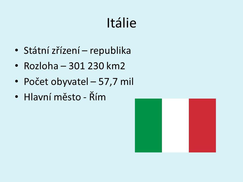 Itálie Státní zřízení – republika Rozloha – 301 230 km2 Počet obyvatel – 57,7 mil Hlavní město - Řím