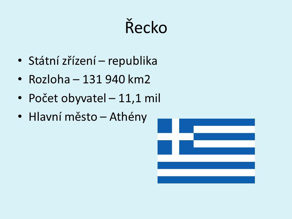 Řecko Státní zřízení – republika Rozloha – 131 940 km2 Počet obyvatel – 11,1 mil Hlavní město – Athény