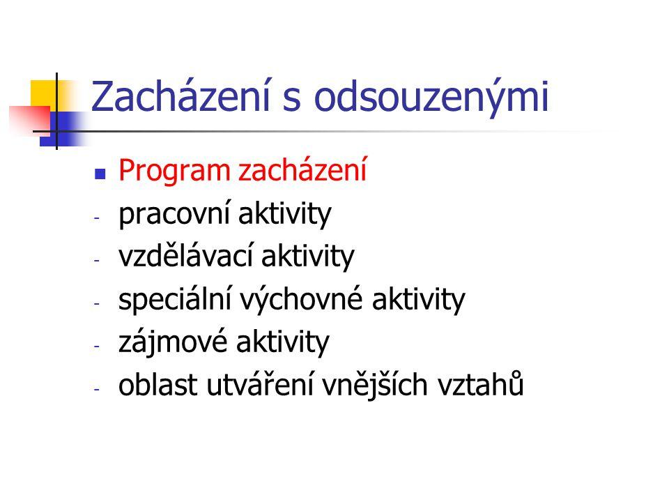 Zacházení s odsouzenými Program zacházení -p-pracovní aktivity -v-vzdělávací aktivity -s-speciální výchovné aktivity -z-zájmové aktivity -o-oblast utváření vnějších vztahů