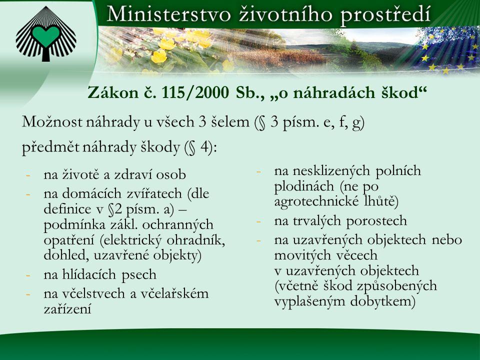 """Zákon č. 115/2000 Sb., """"o náhradách škod"""" -na životě a zdraví osob -na domácích zvířatech (dle definice v §2 písm. a) – podmínka zákl. ochranných opat"""