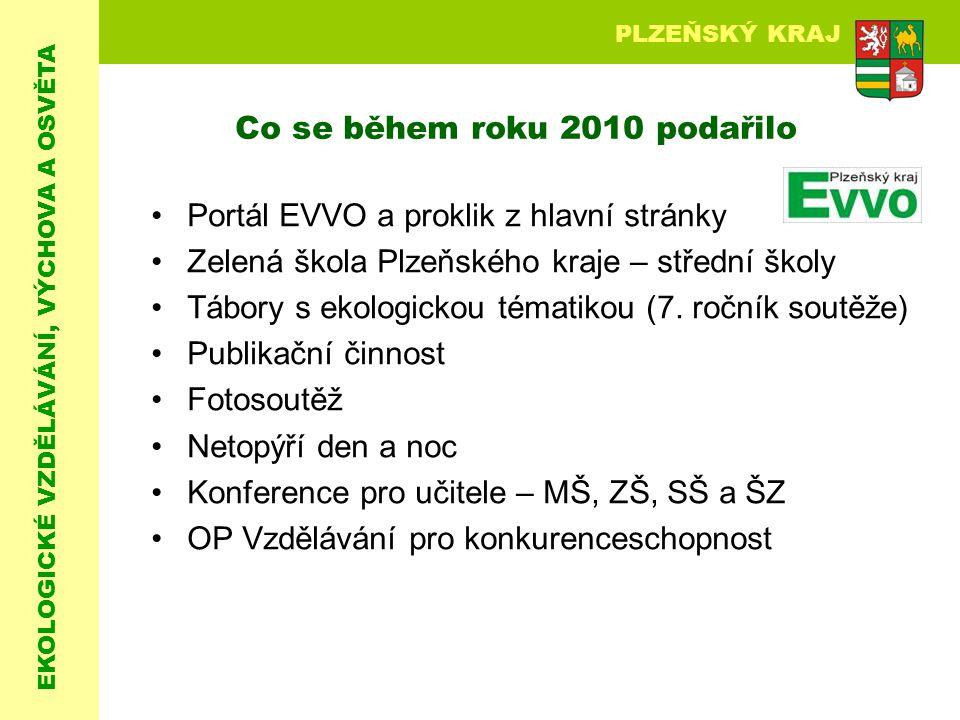 EKOLOGICKÉ VZDĚLÁVÁNÍ, VÝCHOVA A OSVĚTA PLZEŇSKÝ KRAJ Co se během roku 2010 podařilo Portál EVVO a proklik z hlavní stránky Zelená škola Plzeňského kr