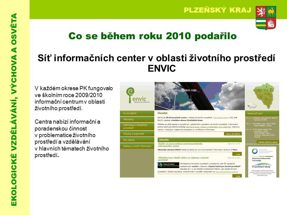EKOLOGICKÉ VZDĚLÁVÁNÍ, VÝCHOVA A OSVĚTA PLZEŇSKÝ KRAJ Síť informačních center v oblasti životního prostředí ENVIC Co se během roku 2010 podařilo V kaž