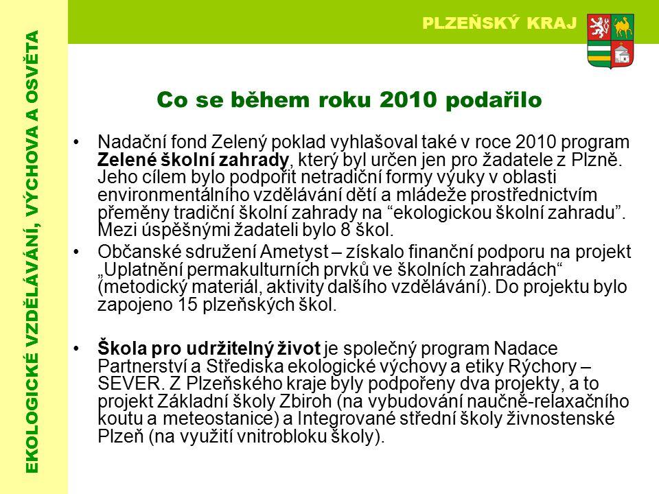 EKOLOGICKÉ VZDĚLÁVÁNÍ, VÝCHOVA A OSVĚTA PLZEŇSKÝ KRAJ Co se během roku 2010 podařilo Nadační fond Zelený poklad vyhlašoval také v roce 2010 program Ze