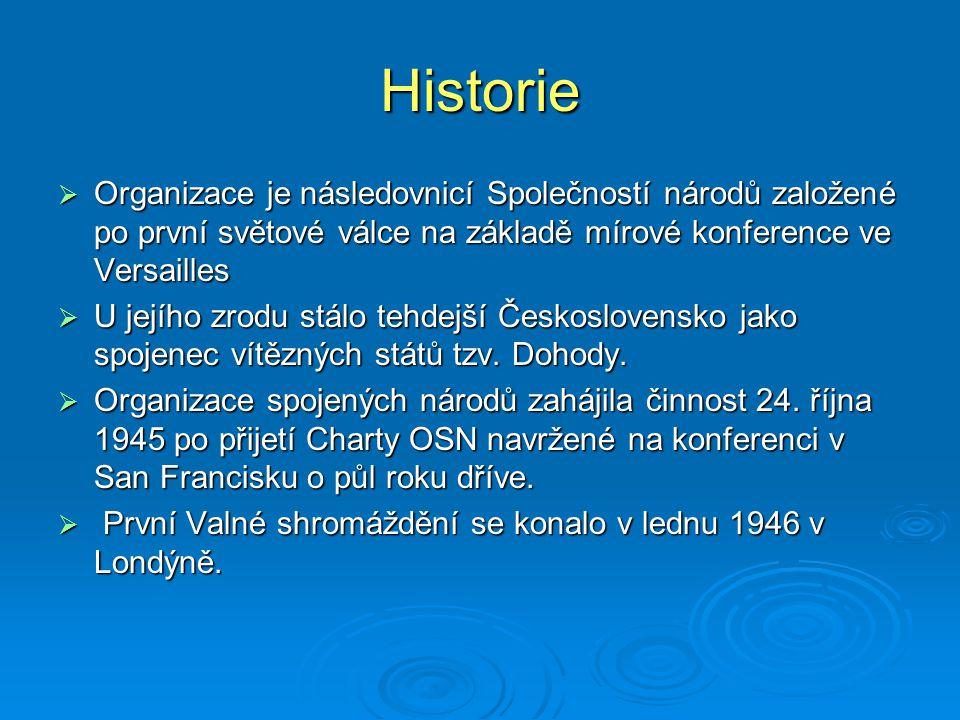 Historie  Organizace je následovnicí Společností národů založené po první světové válce na základě mírové konference ve Versailles  U jejího zrodu s