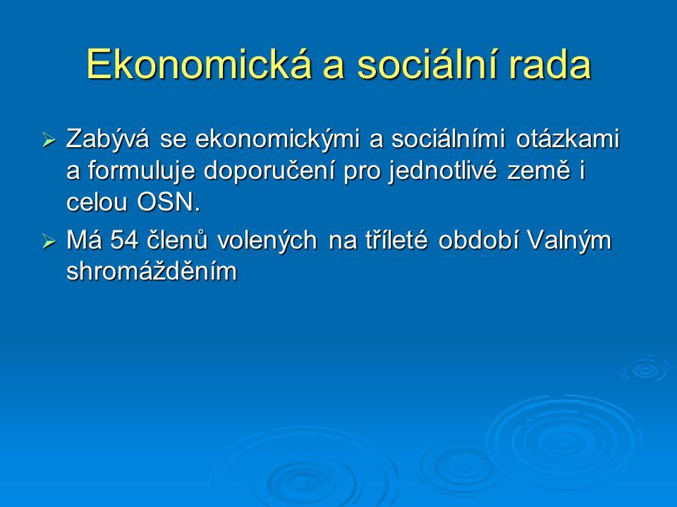 Ekonomická a sociální rada  Zabývá se ekonomickými a sociálními otázkami a formuluje doporučení pro jednotlivé země i celou OSN.  Má 54 členů volený