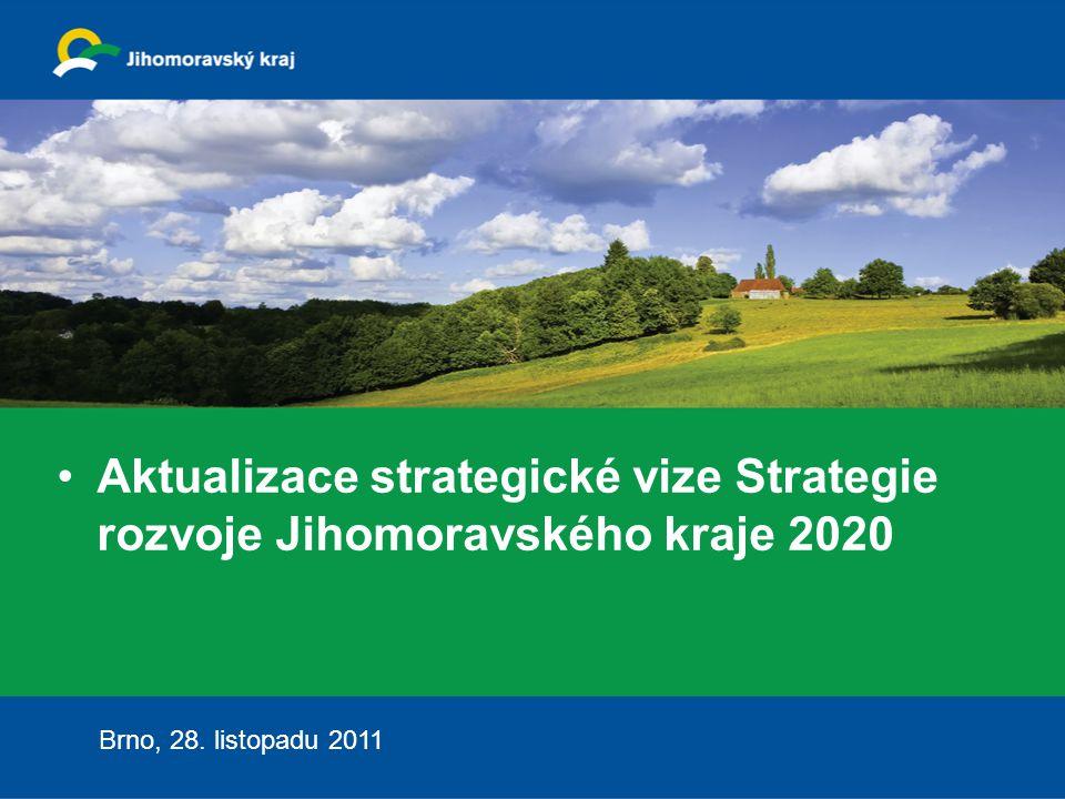 2 Strategie JMK 2020 Aktualizace strategické vize Strategie rozvoje JMK 2020 Důvody pro zpracování: Stávající Strategie rozvoje JMK zpracována v roce 2006 na období 10 let Vnější faktory: hospodářská a finanční krize, demografické a hospodářské změny, evropská kohezní politika v období do roku 2020