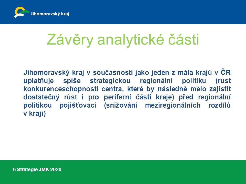 6 Strategie JMK 2020 Závěry analytické části Jihomoravský kraj v současnosti jako jeden z mála krajů v ČR uplatňuje spíše strategickou regionální politiku (růst konkurenceschopnosti centra, které by následně mělo zajistit dostatečný růst i pro periferní části kraje) před regionální politikou pojišťovací (snižování meziregionálních rozdílů v kraji)