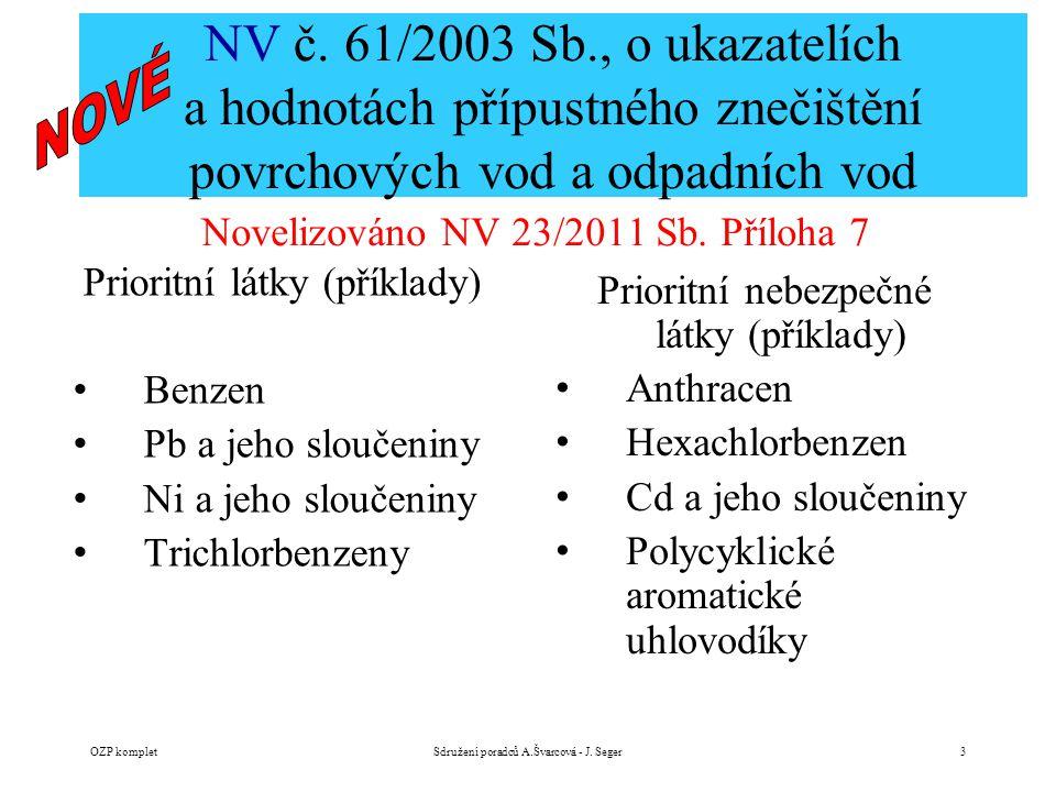 NV č. 61/2003 Sb., o ukazatelích a hodnotách přípustného znečištění povrchových vod a odpadních vod Novelizováno NV 23/2011 Sb. Příloha 7 OZP kompletS