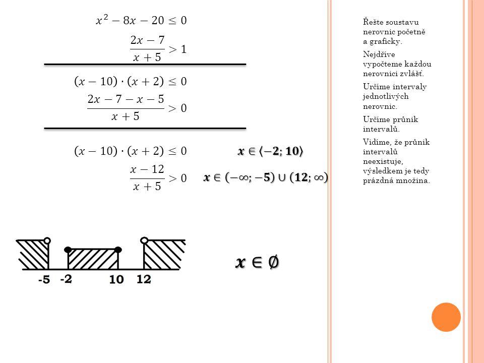 Řešte soustavu nerovnic početně a graficky.Nejdříve vypočteme každou nerovnici zvlášť.