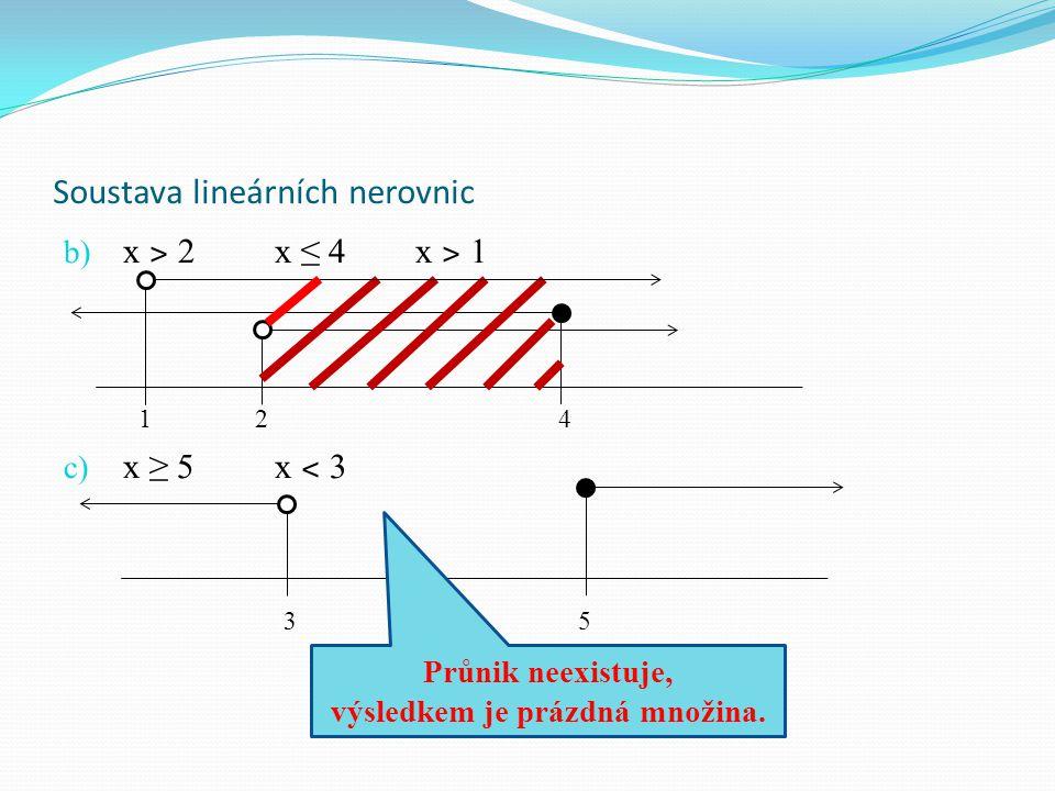 Soustava lineárních nerovnic b) x ˃ 2 x ≤ 4 x ˃ 1 1 2 4 c) x ≥ 5x ˂ 3 3 5 Průnik neexistuje, výsledkem je prázdná množina.
